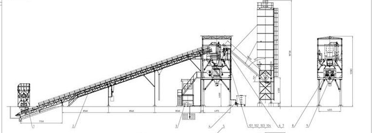 The drawings of HZS90 Batching Plant